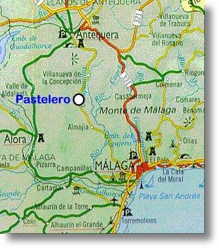 Mapa de carreteras para llegar a la Barriada Pastelero de Málaga