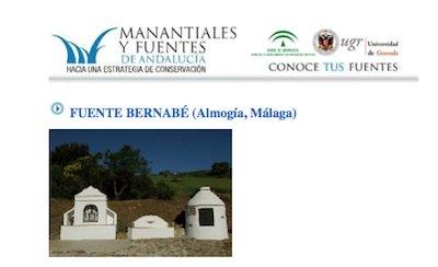 ¿Sabias que la Fuente de Bernabé figura en el catálogo de manantiales y fuentes de Andalucía?
