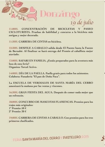 Programa de la Feria de Pastelero 2015
