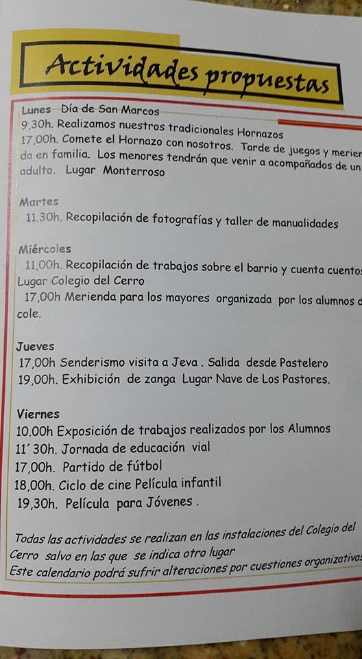 Programa de actividades de laSemana Cultural de Santa María del Cerro y Pastelero 2016