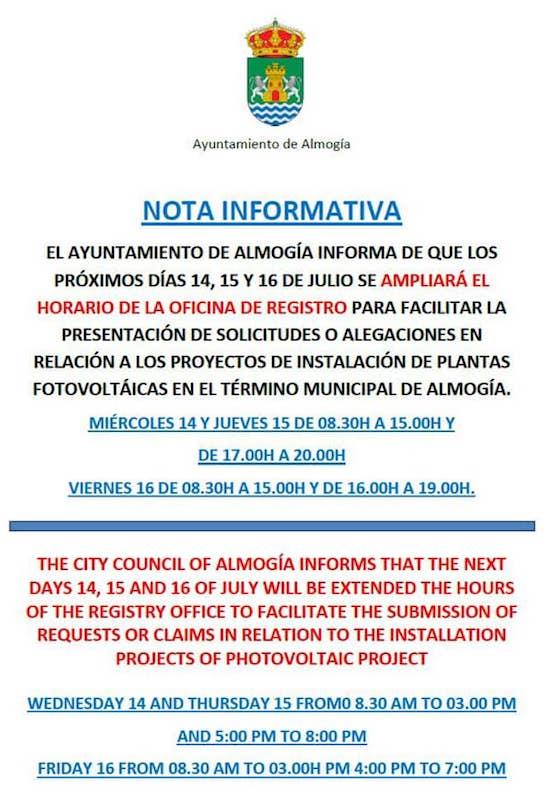 Horario para presentar alegaciones contra los megaparques solares en Alnogía